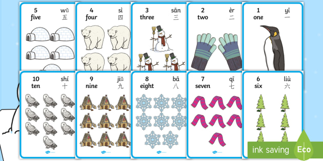 Winter Themed Number with Words  Numbers (1 - 10) Display