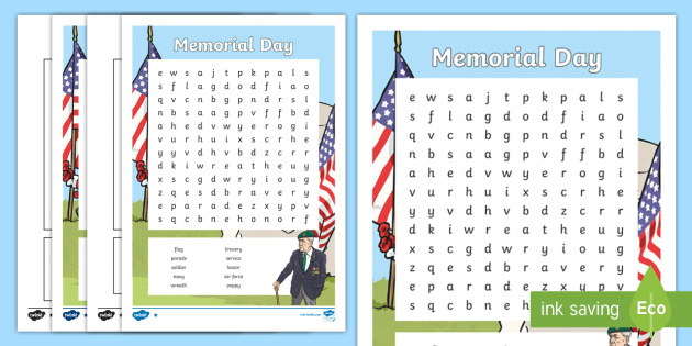 Memorial Day Word Search - Memorial Day, world war, remember