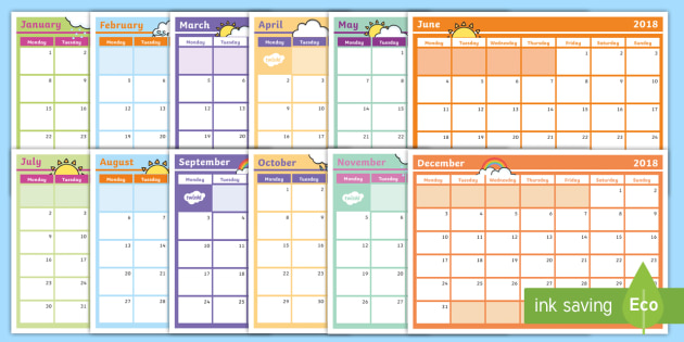 2018 Monthly Calendar Planning Template - Monthly Calendar Planning