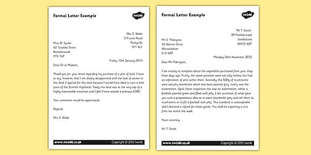 Formal Letter Examples - KS2 Formal Writing Example Texts - letter examples