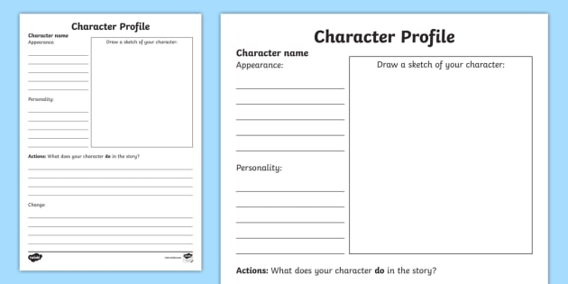 Character Profile Writing Template - characters, writing