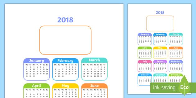 Editable 2018 Year to a Page Calendar - Editable 2017 Calendar