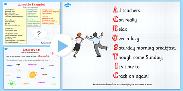 Recognise Different Forms of Poetry Acrostics Teaching - poetry powerpoint