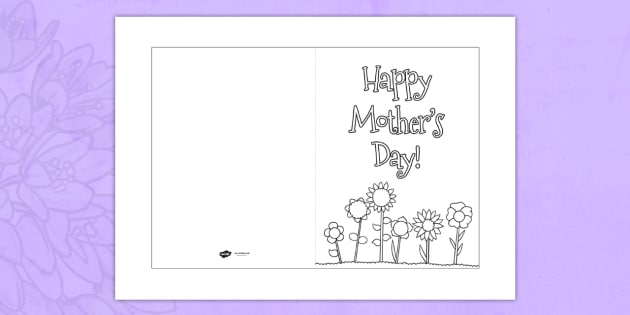 Mother\u0027s Day Card Template (Colouring) - Design, Mother\u0027s day