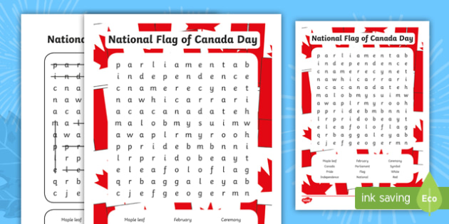 National Flag of Canada Day Word Search - National Flag of - word flag