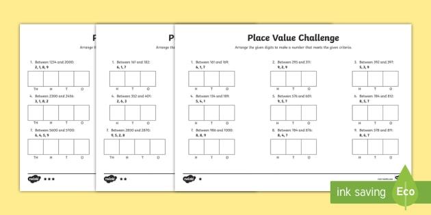Place Value Challenge Worksheet / Worksheet - place value, place value