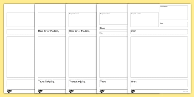 Letter Writing Template KS1 - writing a formal letter, template