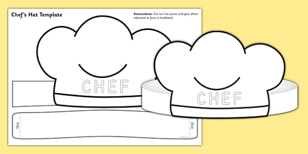 Chef Hat Template - chef hat, template, role play, chef, hat, chef