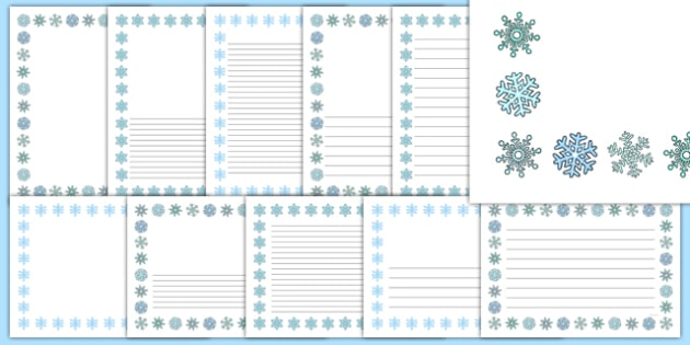 Snowflake Portrait Page Borders- Portrait Page Borders - Page - snowflake borders for word