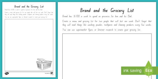 FREE! - Menu and Grocery List for pages 223 to 260 Worksheet