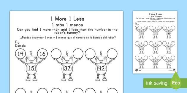 Beautiful 1 More 1 Less Robots Worksheet Activity Sheet Us - Ivoiregion