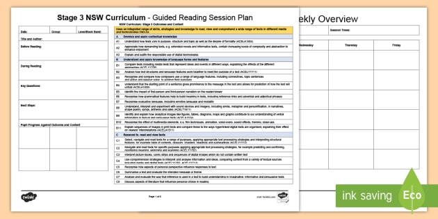 Stage 3 NSW Curriculum Guided Reading Planning Template - Year