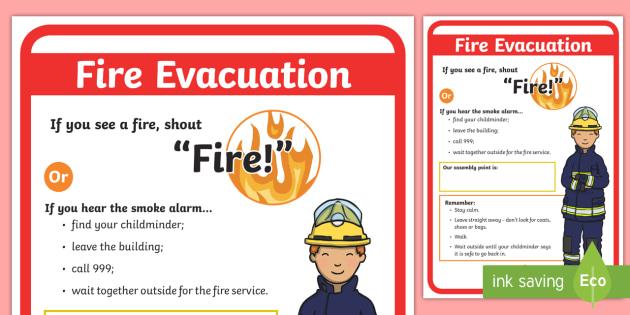 Childminder Fire Evacuation Procedure A4 Display Poster - fire