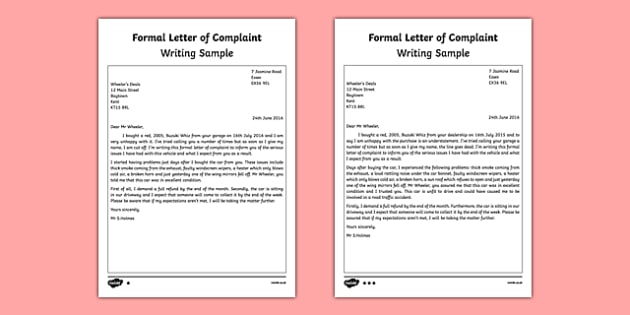 Letter of Complaint Writing Sample - sample formal letter
