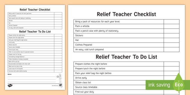 NEW * Relief Teacher Check List and To do Checklist - Relief teaching