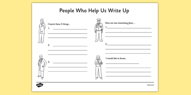 People Who Help Us Write Up Work Sheet - writing template, write - write up template