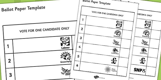 Editable Vote Slips - ballot, paper, template, role-play, play