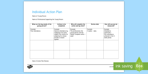 Individual Action Plan Young People  Families Case File Recording