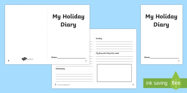 Holiday Diary Template - 2 week holiday diary writing frame, 2