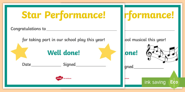 School Performance Award Certificates - ROI Drama, acting, performance
