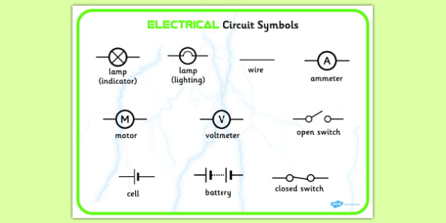 Electricity Circuit Symbols Word Bank - electricity circuit symbols