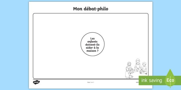 Fiche heuristique pour débat-philo  Les tâches ménagères - les taches menageres