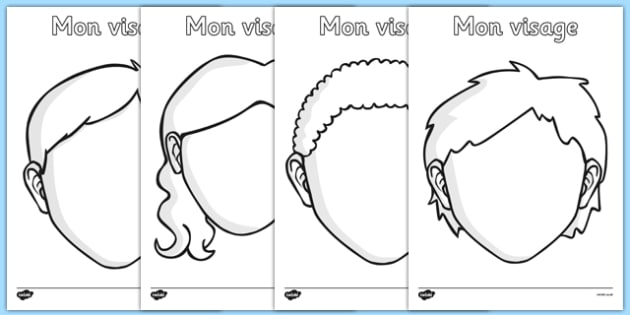 Mon visage Blank Faces Templates French - french, face, features, eye