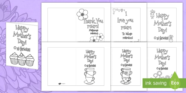 Mother\u0027s Day Card Templates Colouring Romanian Translation