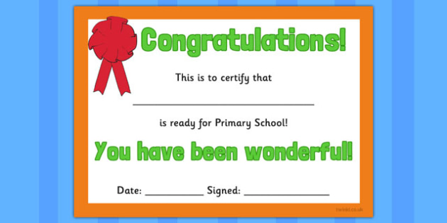 Ready for Primary School Certificate - ready, primary, certificate