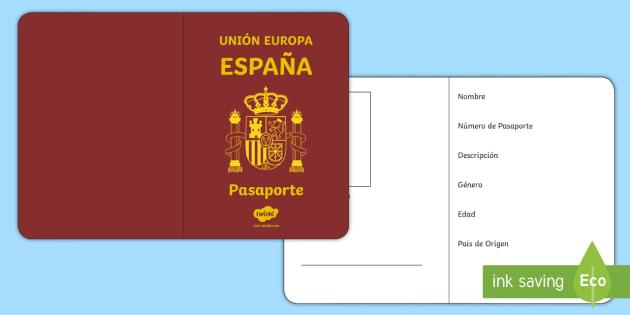 Spanish Passport Template Activity - personal, description - passport template