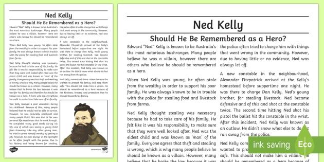 Ned Kelly Hero Or Villain Exposition Writing Sample