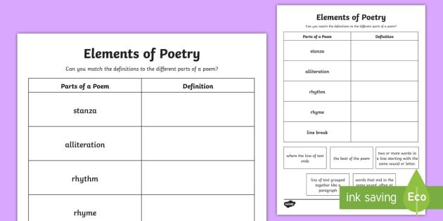 CfE Second Level Elements of Poetry Worksheet / Worksheet-Scottish