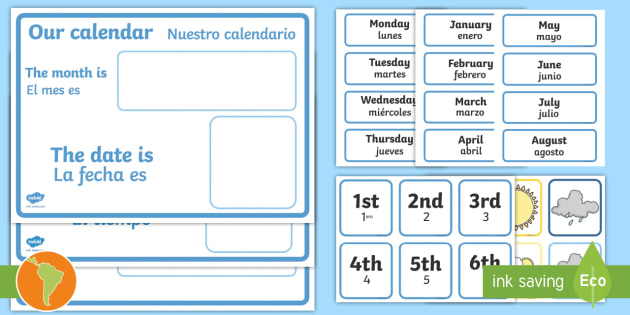 Daily Calendar/Weather Chart - English/Spanish - Weather calendar
