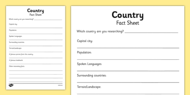 Country Factsheet Writing Template - country factsheet, places - fact sheet templates
