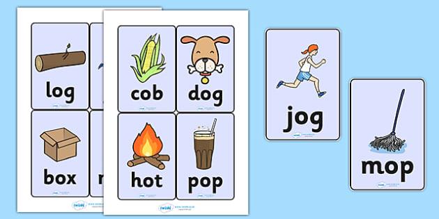 CVC Word Cards (o) - CVC, CVC word, three phoneme words, three - word with the letters