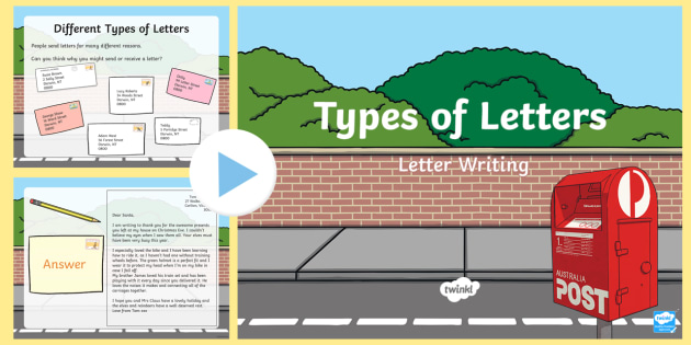 Types of Letters PowerPoint - letters, informal letter, formal