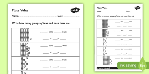 Place Value Worksheet - CfE, First Level, Second Level, place value