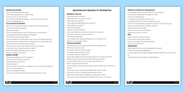 Teacher Job Interview Questions - interviews, planning, plan - interview questions for teachers