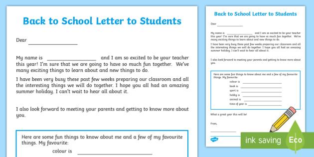 Back to school Teacher to student Letter - September,Autumn - letter to students from teacher