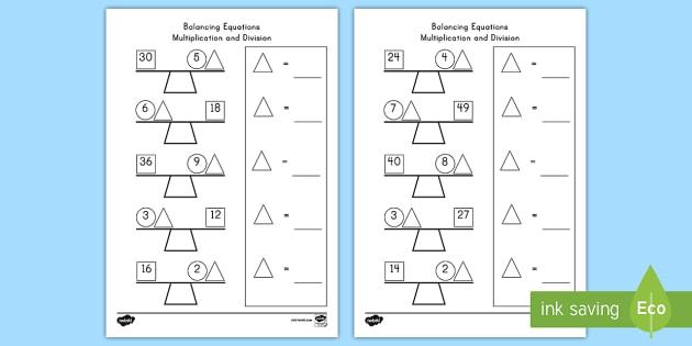 Balancing Multiplication and Division Equations Worksheet /