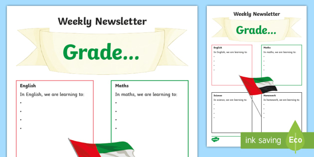Weekly Newsletter Template - UAE, ADEC, MOE, animals, emirates - weekly newsletter template