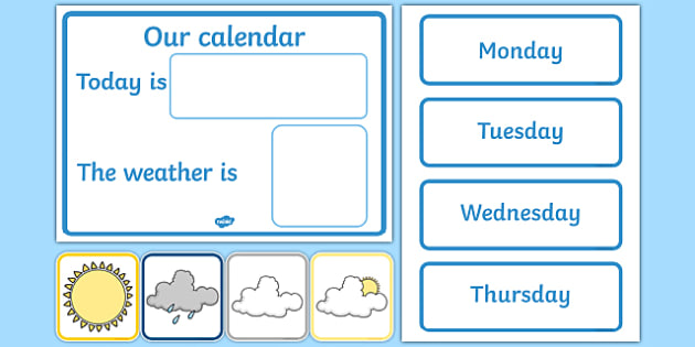 Daily Calendar/Weather Chart - Weather calendar, Weather chart