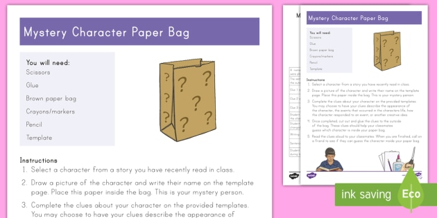 Mystery Character Paper Bag Craft - Character Analysis, Project