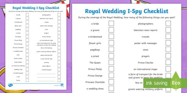 NEW * Royal Wedding I-Spy Checklist - royal, wedding