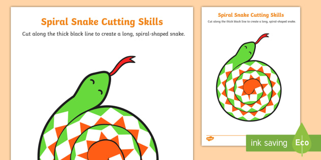 NEW * Snake Cutting Skills Worksheet - Scissor skills, fine motor, craft