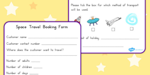 Space Travel Agents Role Play Booking Forms - australia, font - travel agent form
