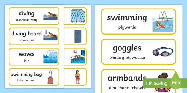 Swimming Pool Word Cards Polish Translation - polish, swimming pool