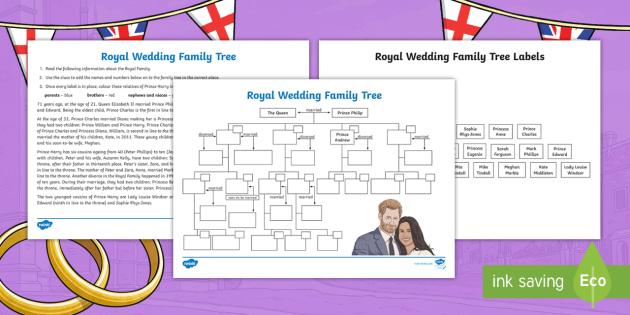NEW * Royal Wedding Family Tree Activity Sheet - Prince - family relation tree