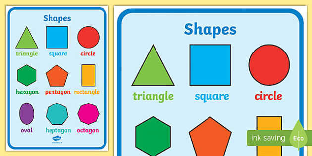 Large 2D Shapes Poster - 2d shapes poster, shapes, 2d shapes, shapes
