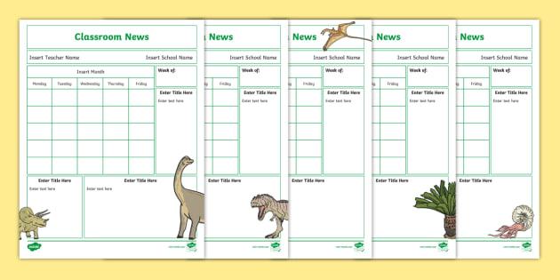 NEW * Editable Dinosaur Classroom Newsletters - communication - editable classroom newsletter
